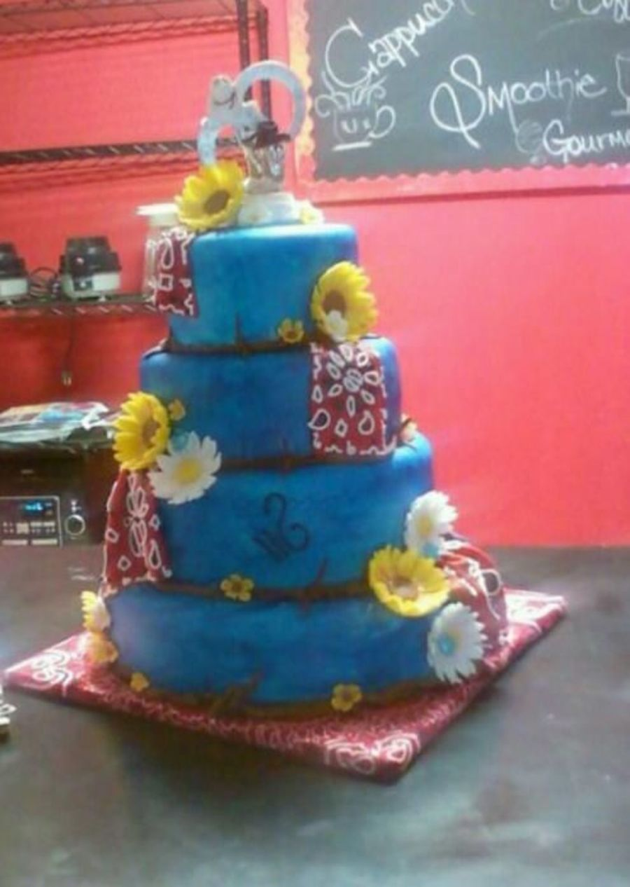 Denim And Sunflowers on Cake Central