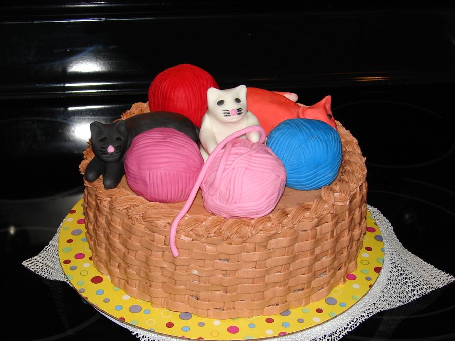 Kitten Yarn Basket Cake