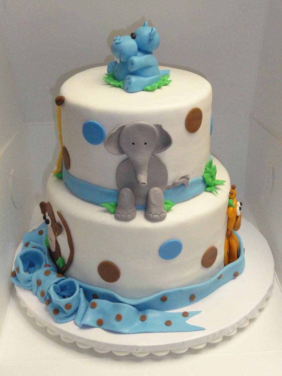 jungle animal baby shower cake