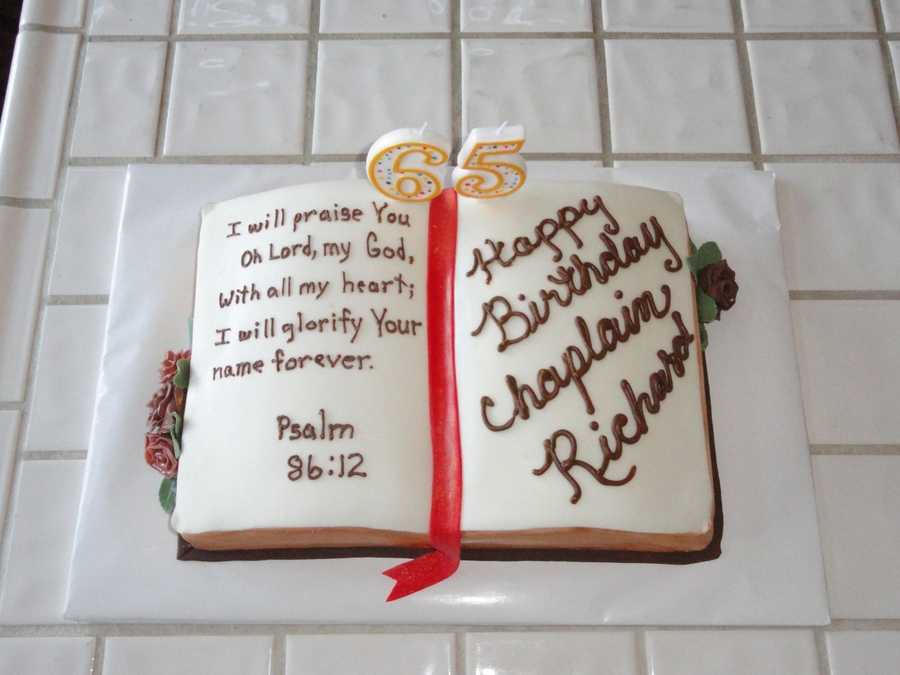 Bible Birthday Cake W/verse on Cake Central