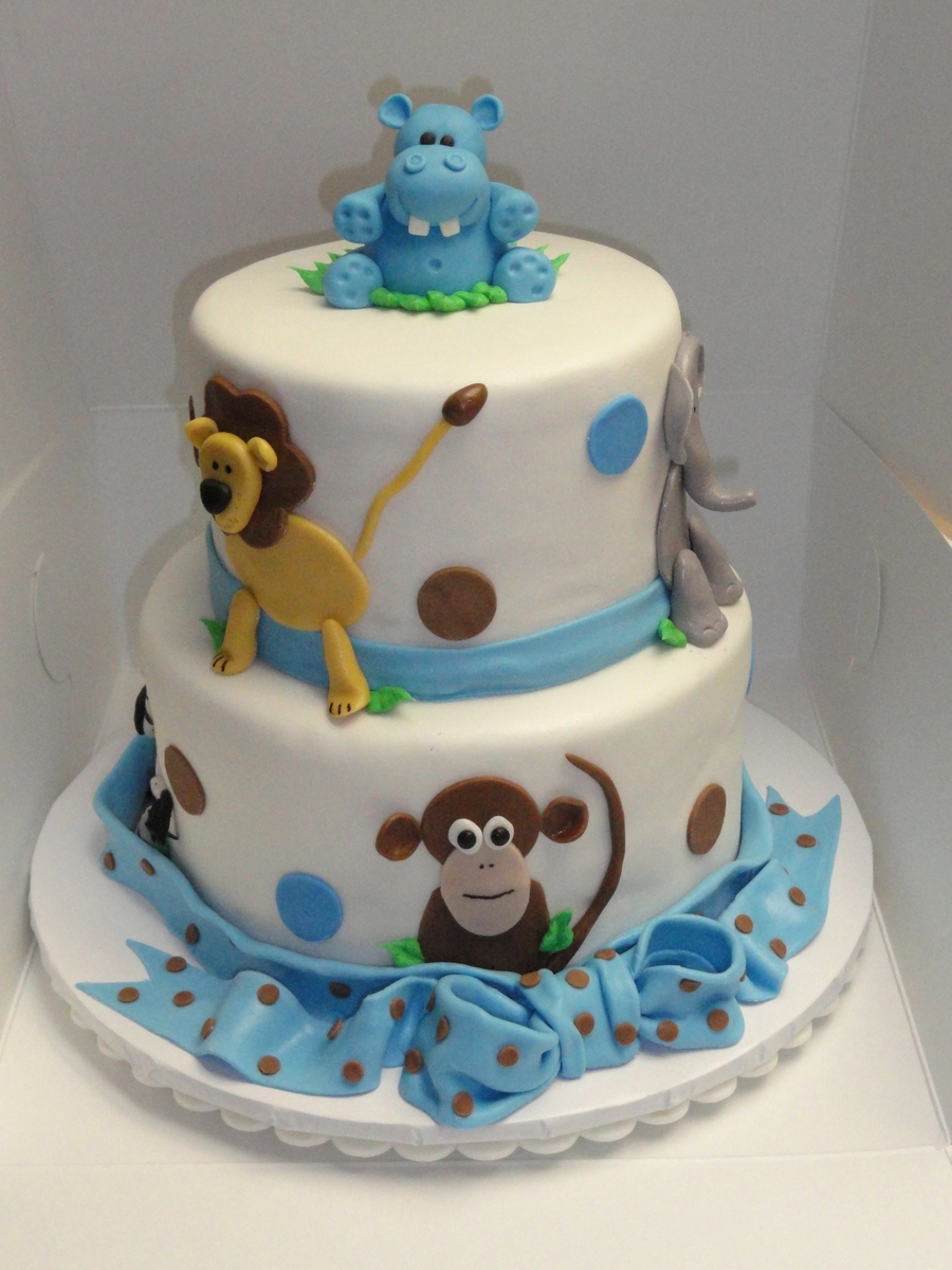 Jungle Animal Baby Shower Cake Cakecentral Com