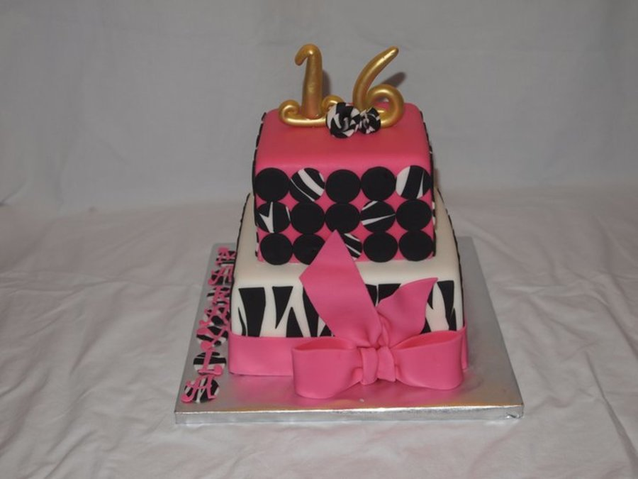 Hot Pink And Zebra Polka Dots on Cake Central