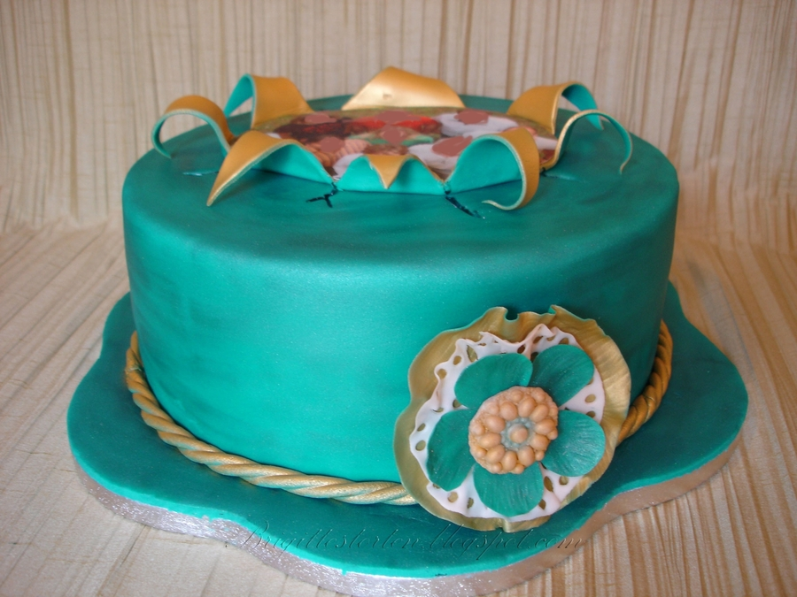 Teal And Gold Cake on Cake Central