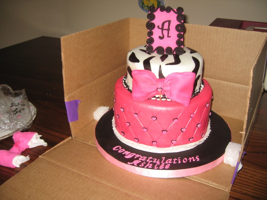 Pink And Black Cake on Cake Central