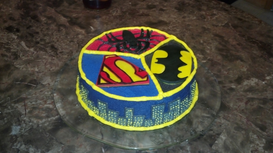 Spiderman, Superman, Batman Cake on Cake Central