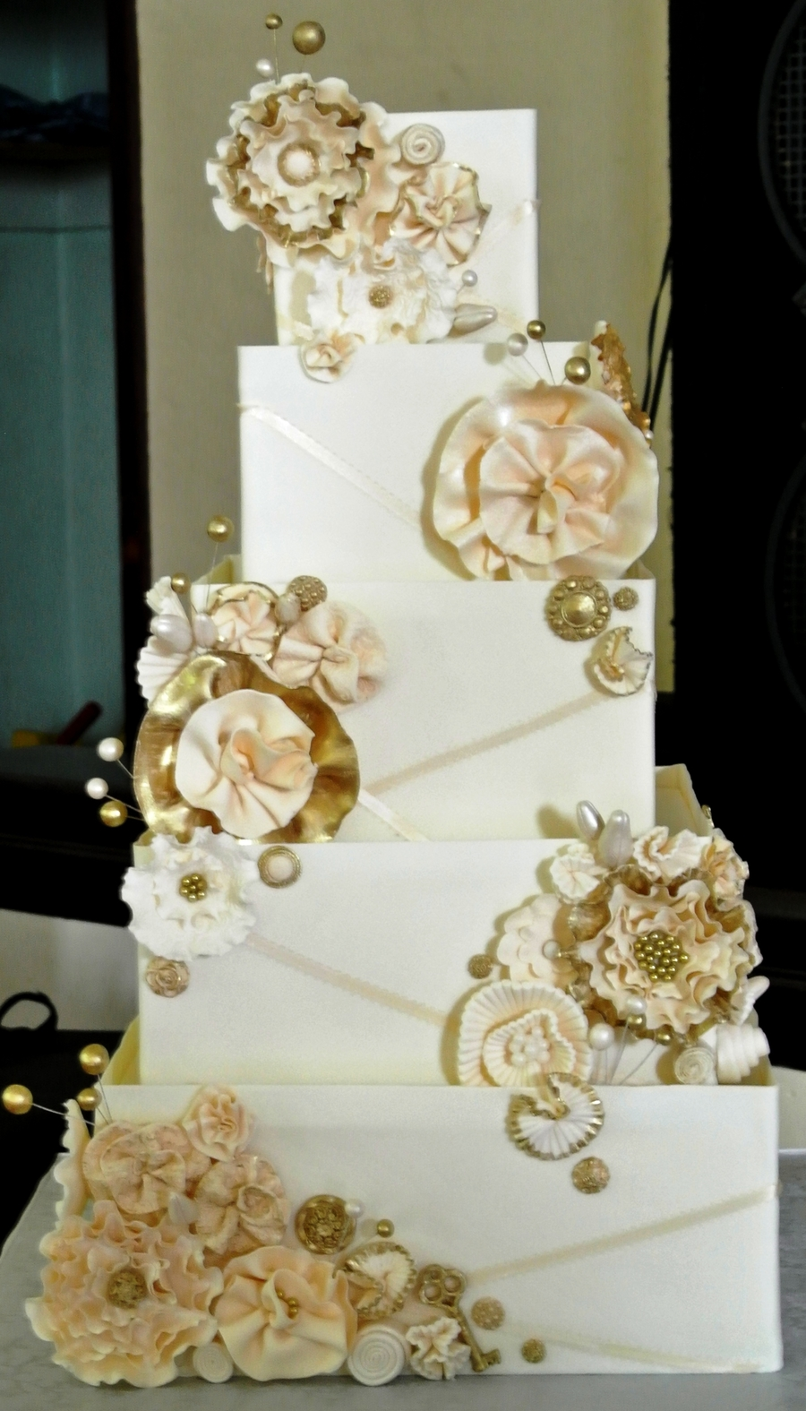 Wedding Cake With Gold Accents - CakeCentral.com