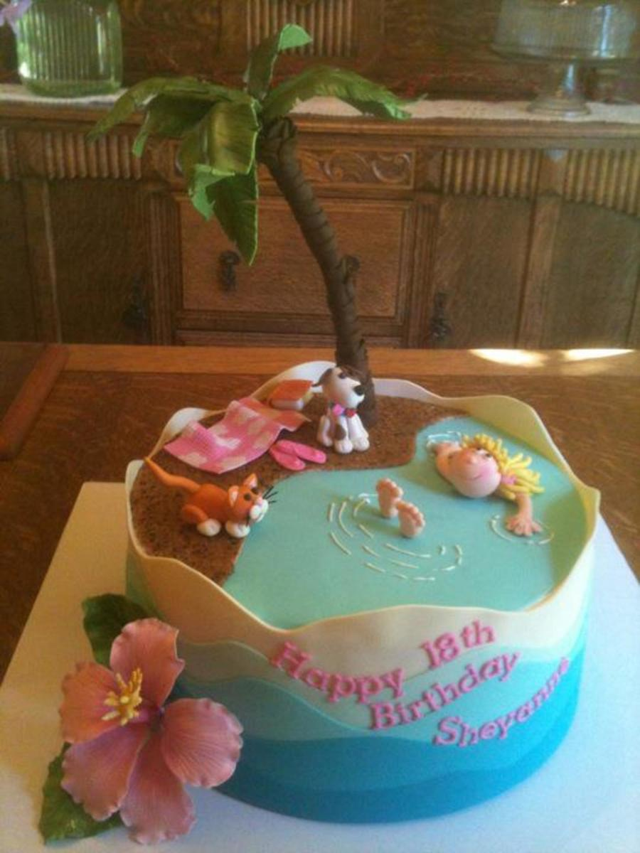 Made This Cake For A Girls 18th Birthday Mom Said She Loved Dogs Cats Hawaii Was Going To Be Vet Tech And The Color Pink