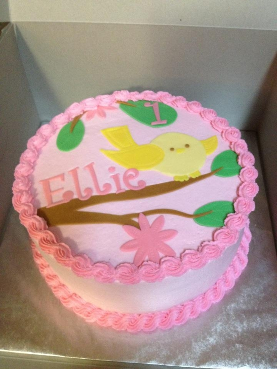 Birdie First Birthday Cake on Cake Central