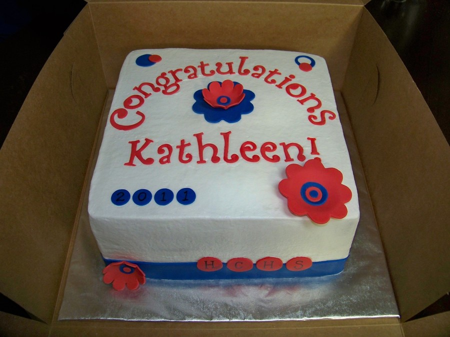 Red And Blue Feminine Graduation Cake on Cake Central