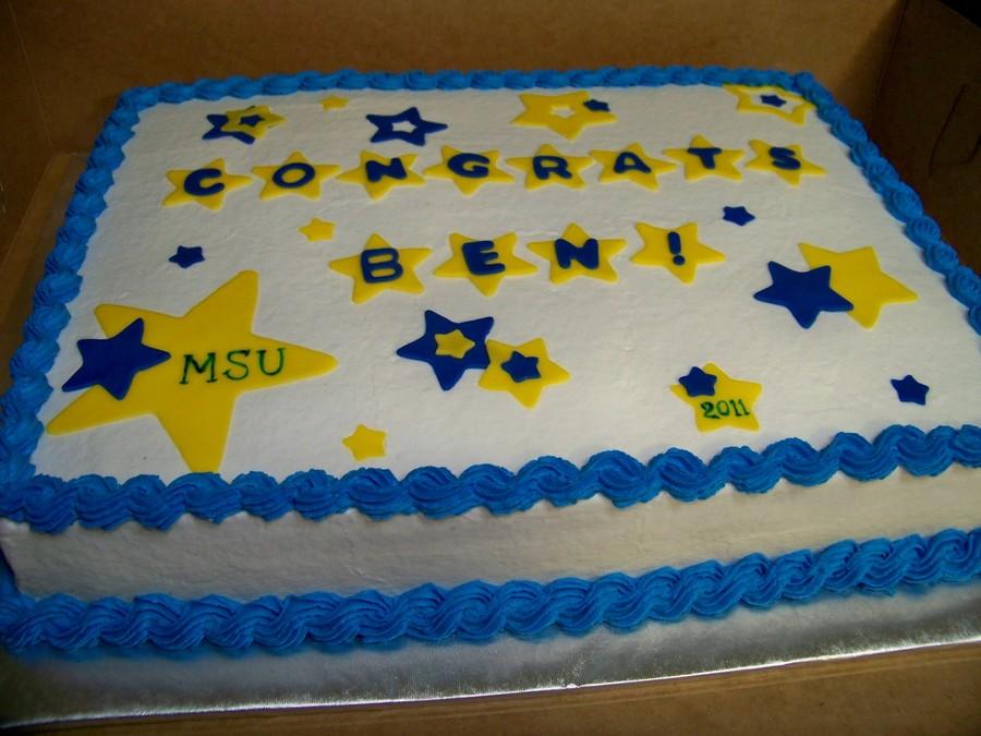 Blue And Gold Graduation Cake on Cake Central