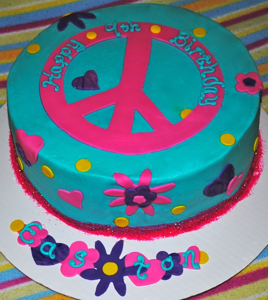 Enjoyable Peace Sign Birthday Cake Cakecentral Com Personalised Birthday Cards Epsylily Jamesorg