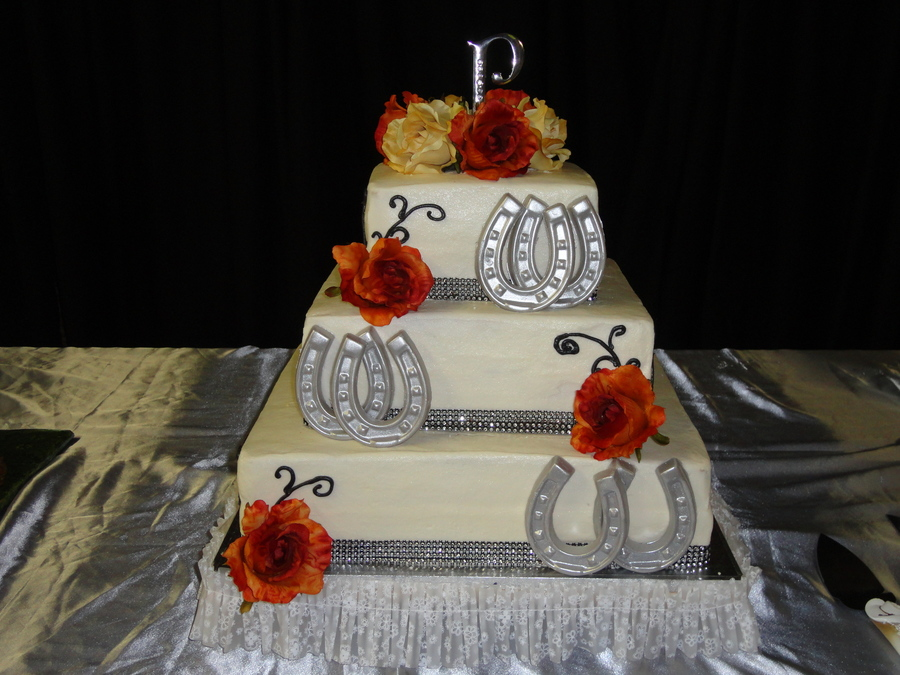3 Tier Vanilla Cake With Candy Melt Horse Shoes Dusted With Luster Dust Bride Loved It on Cake Central