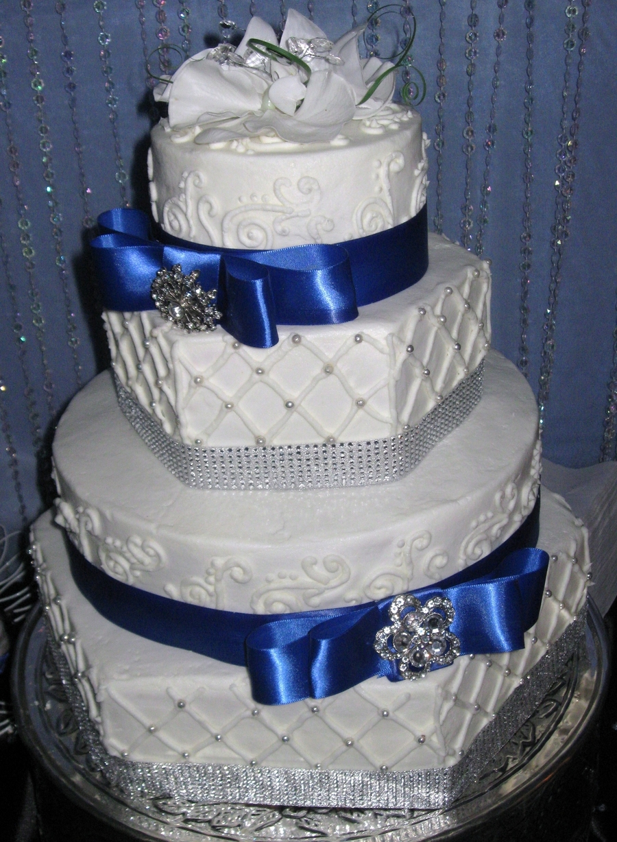 royal blue and white square wedding cakes hexagon royal blue wedding cake cakecentral 19357