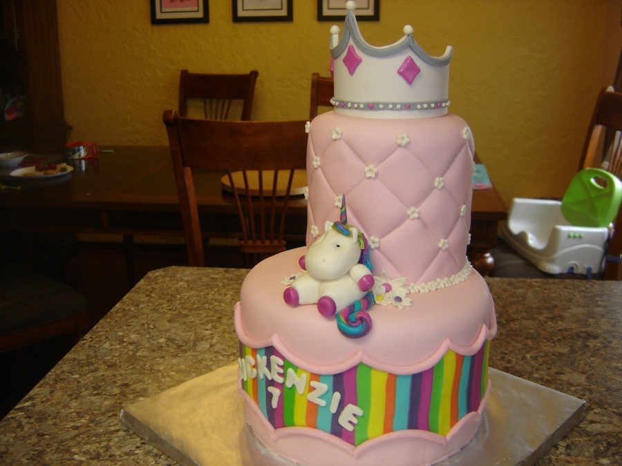 Rainbows Unicorn And Princess Cake On Central