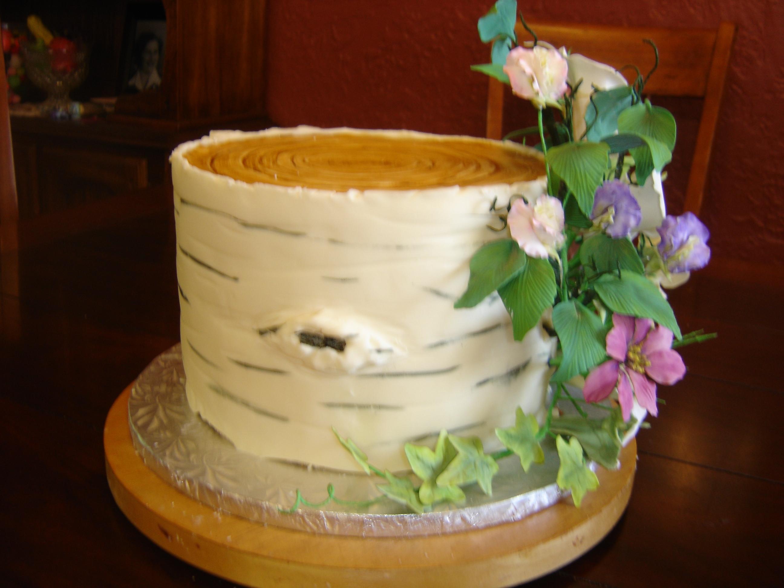 Cake Decorating Chocolate Bark : Birch Tree Wedding Cake - CakeCentral.com