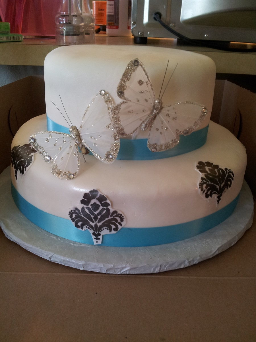 Flutterby Wedding  on Cake Central