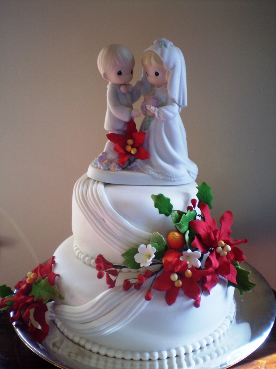 poinsettia wedding cake poinsettia wedding cake cakecentral 18666