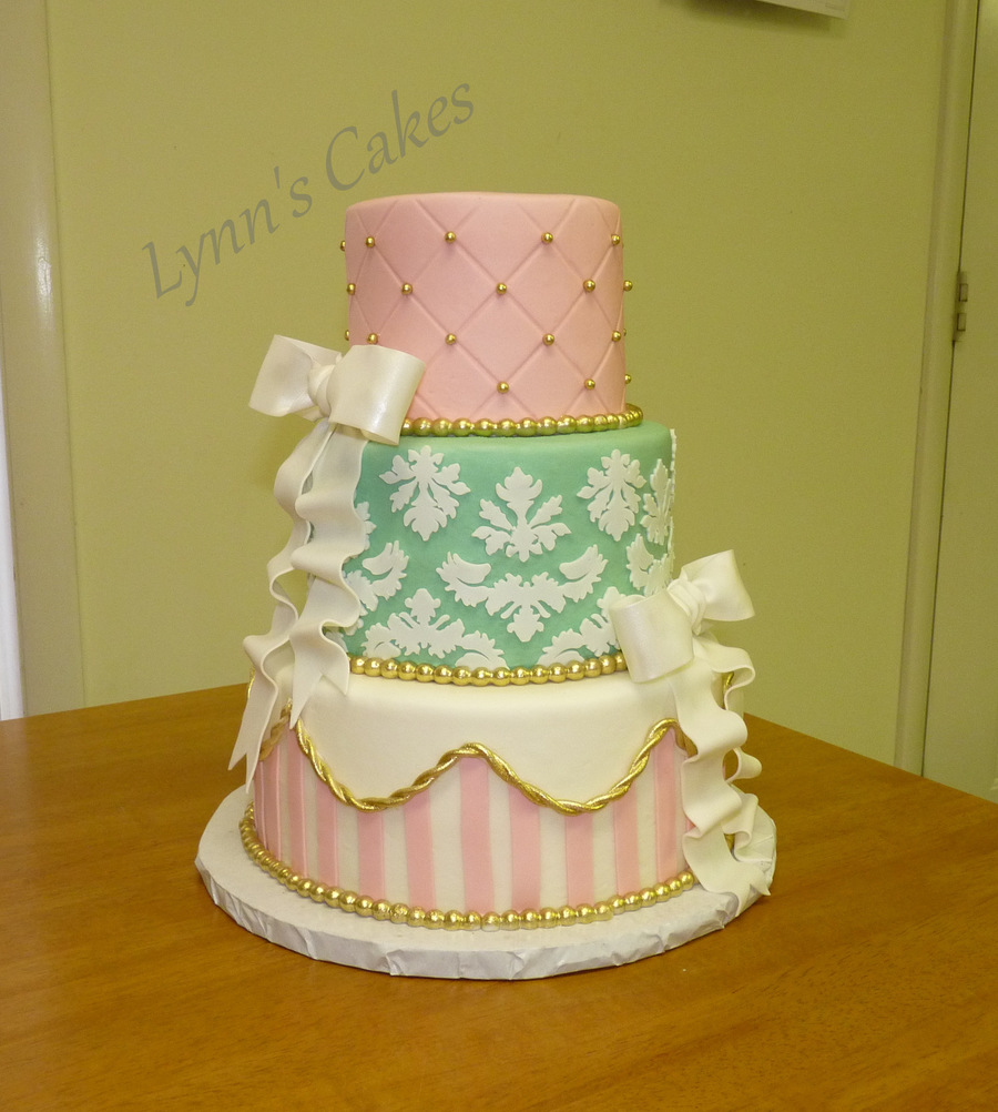 Pink Gold Mint Green Birthday Cake Buttercream Iced 3 Tier Cake