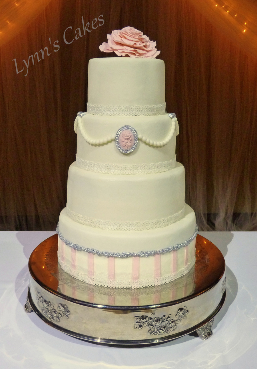 Blush And Silver Vintage Brides Cake Buttercream Iced Cake With ...