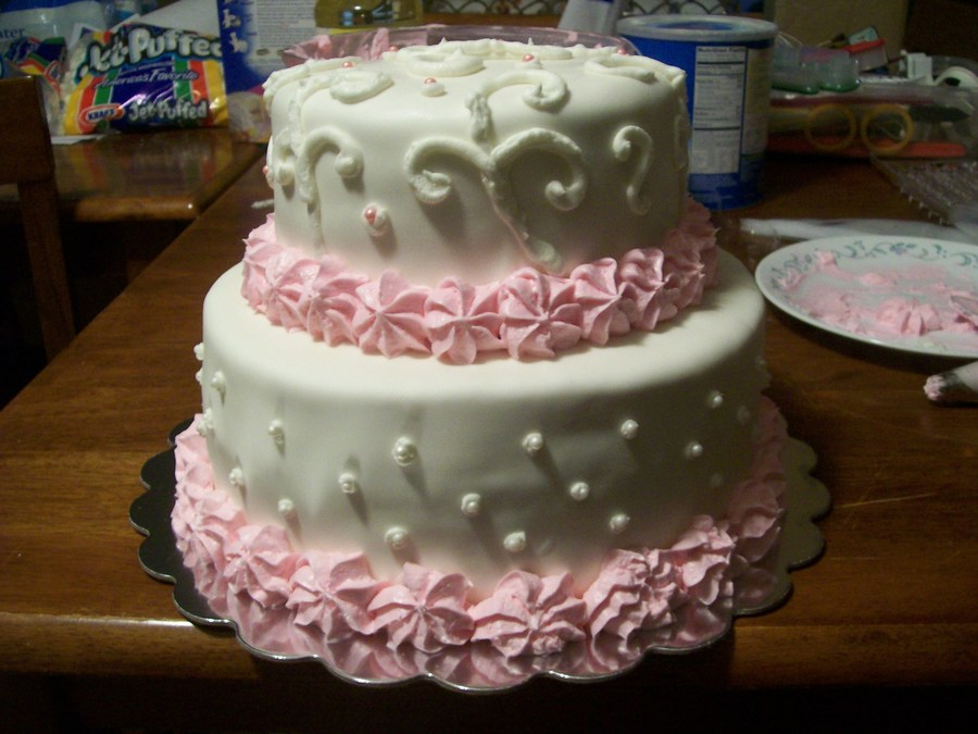 Pink And White Cake on Cake Central