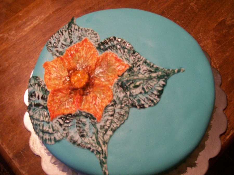 Embroidery Style Cake With Hibiscus Flower on Cake Central