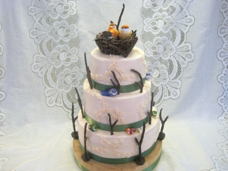 3 Tier Chocolate And White Wedding Cake With Buttercream Icing Twigs Were Gumpaste Mixed Ground