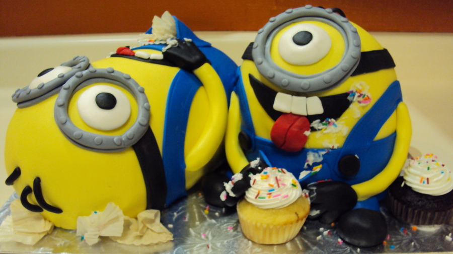 Minions Enjoying Cupcakes! on Cake Central