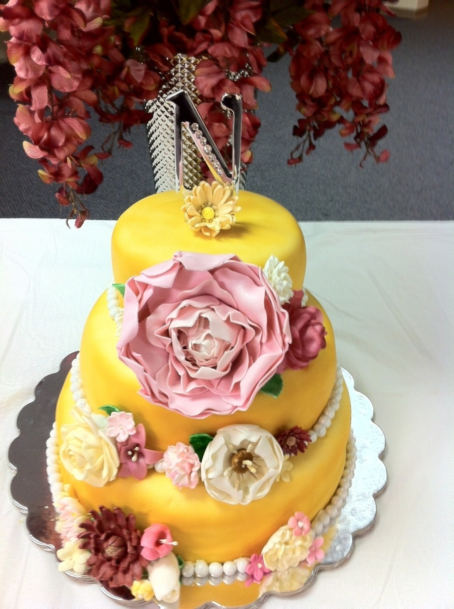 Flowery Wedding Cake on Cake Central