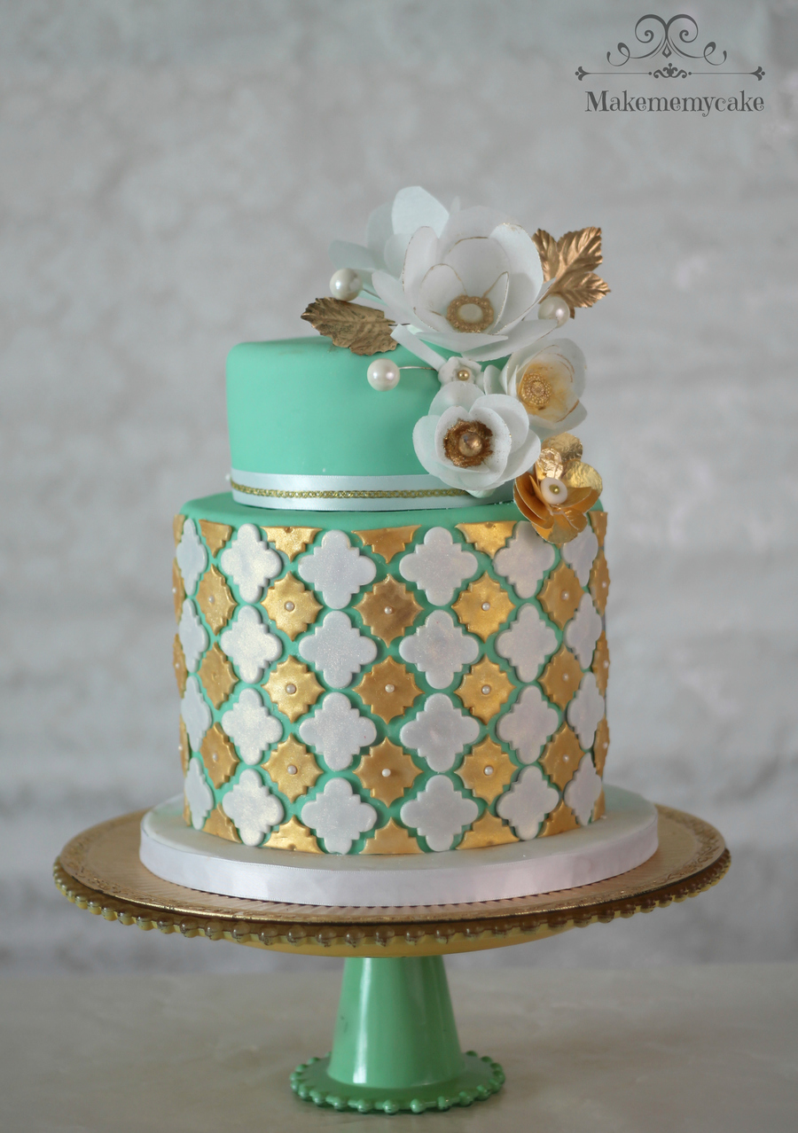 Gold And Mint With Wafer Paper Flowers on Cake Central