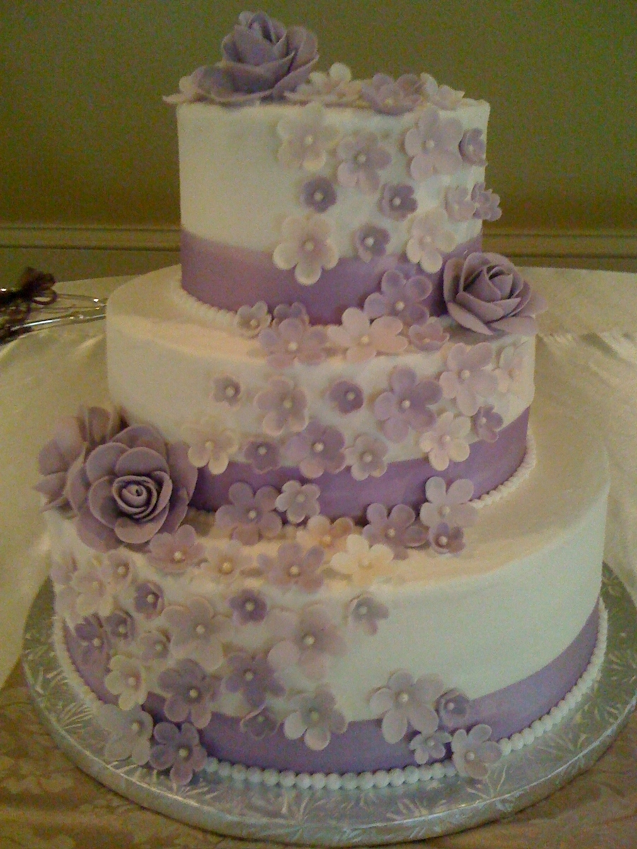 3 tier purple wedding cake purple 3 tier wedding cake cakecentral 10239