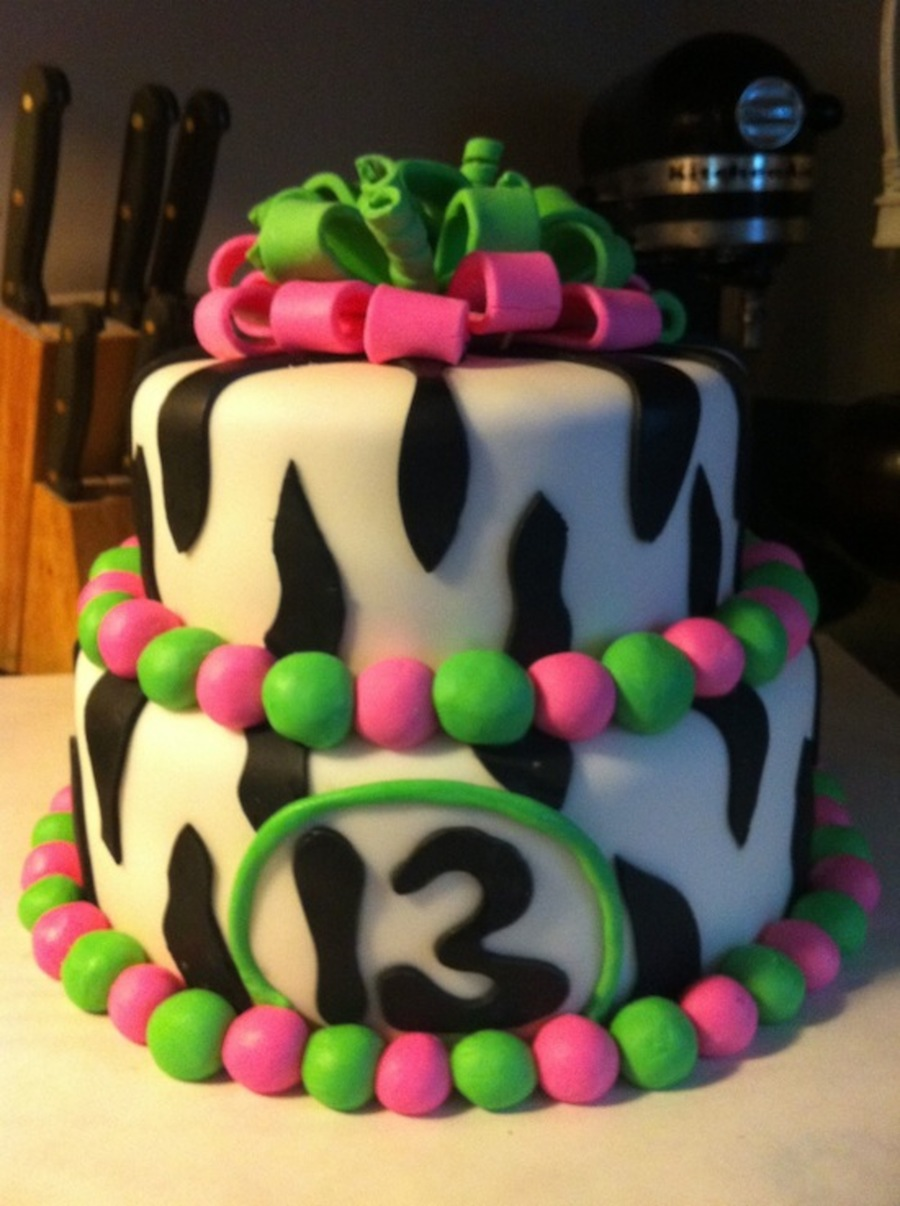 Zebra Strip Cake  on Cake Central