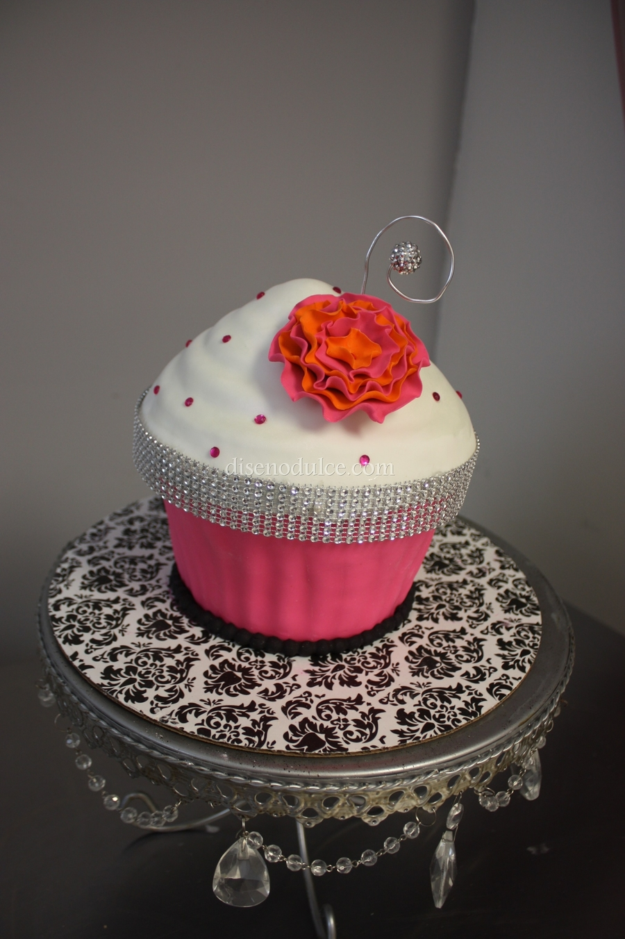 Bling Giant Cupcake  on Cake Central