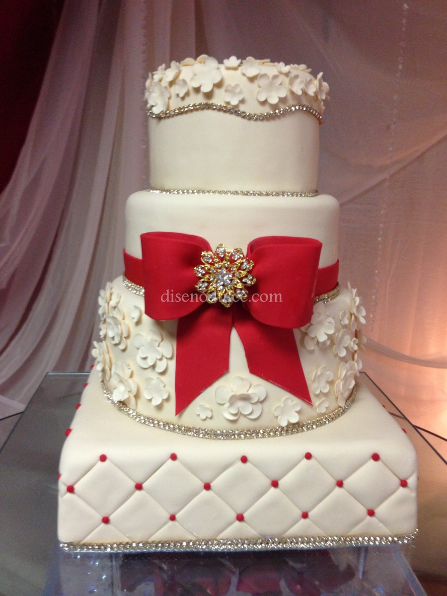 wedding cake red and gold ivory amp gold cakecentral 23661