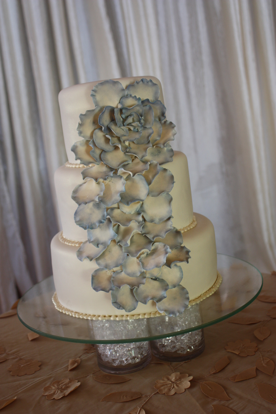 Blue Petals Wedding Cake on Cake Central
