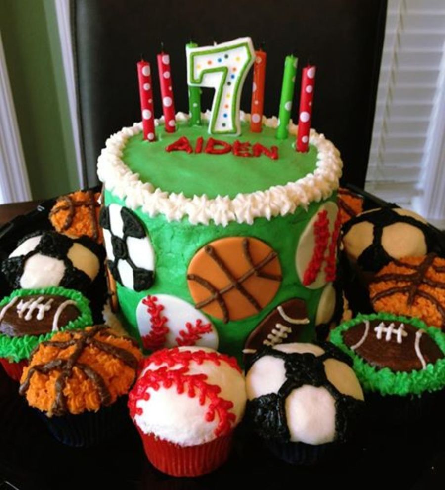 Strange Buttercream And Fondant Sports Ball Birthday Cake And Cupcakes Personalised Birthday Cards Veneteletsinfo