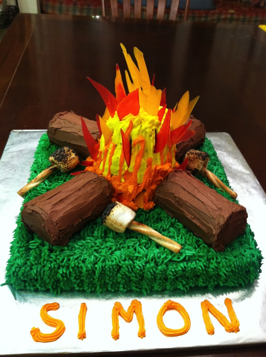 Cake Decorating How To Make Fire : Campfire Cake - CakeCentral.com