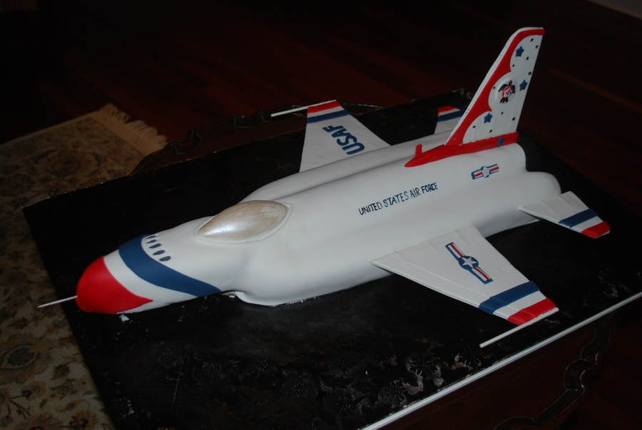 Groom's Cake - 3D Air Force Thunderbird on Cake Central