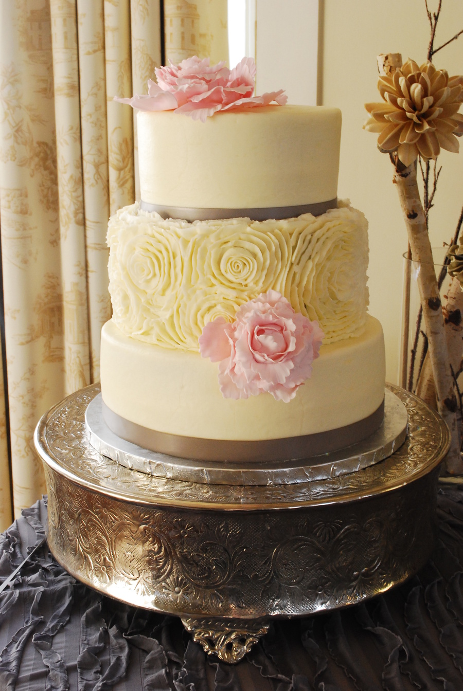 Buttercream Rosette Wedding Cake Gumpaste Flowers