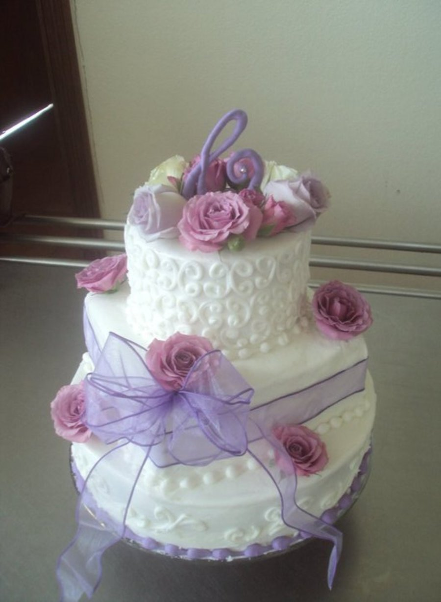 Lavender And White Wedding Cake on Cake Central