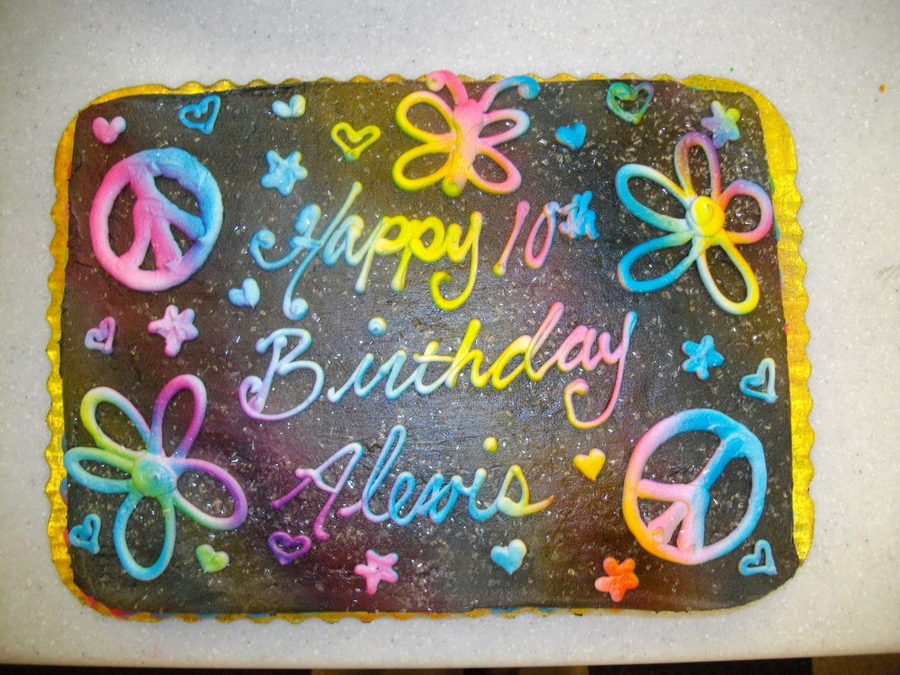Buttercream1St I Airbrushed The Whole Cake Black Then Piped On All The Details In White Lastly Airbrused Rainbow Style Over The Top on Cake Central