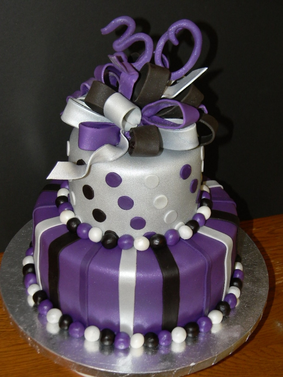 Purple Silver And Black 30th Birthday Cakecentral