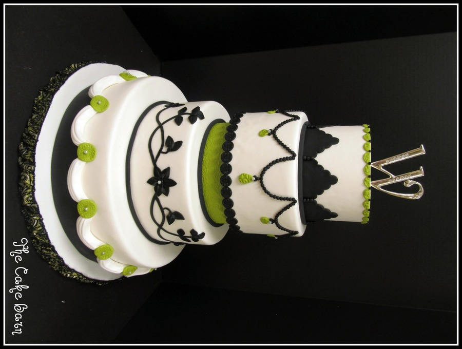 Avacodo Green, Black, And White Wedding Cake on Cake Central