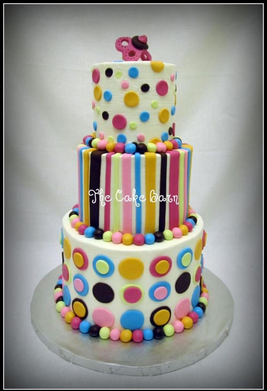 Girly Dots And Stripes Baby Shower Cake on Cake Central