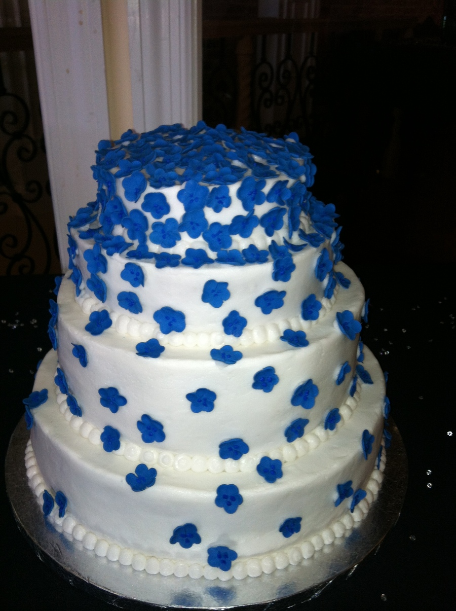 Blue Gumpaste Flower Wedding Cake on Cake Central