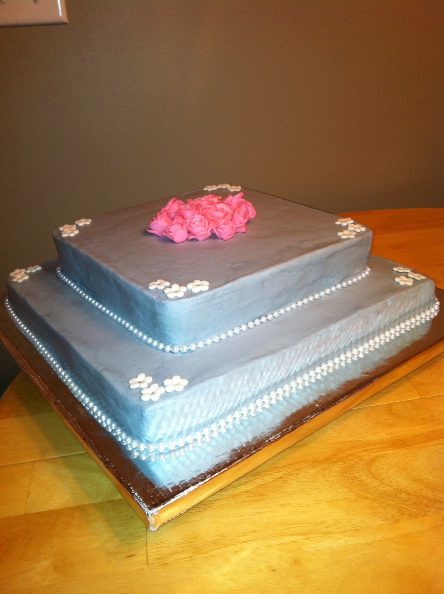 Square Gray Wedding Cake on Cake Central