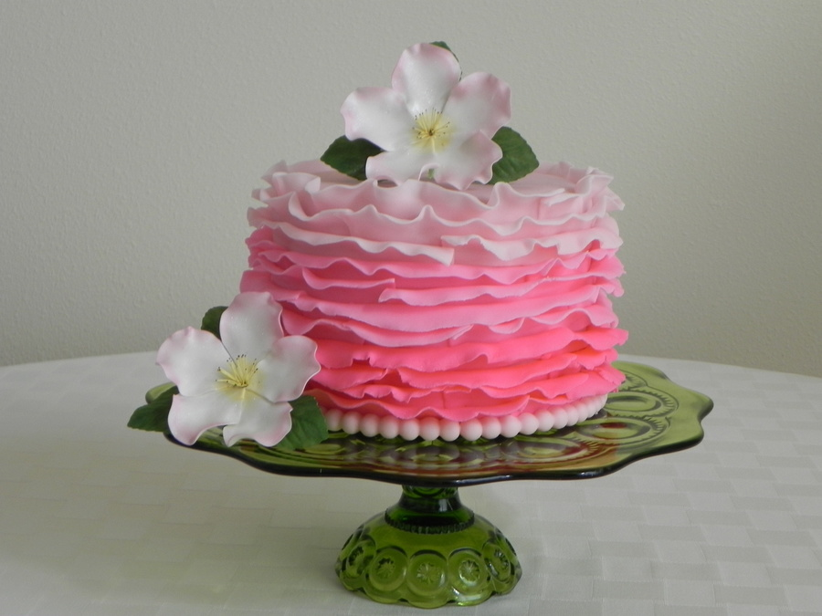 This Cake Has Pink Fondant Ombre Ruffles And Gumpaste Briar Roses on Cake Central