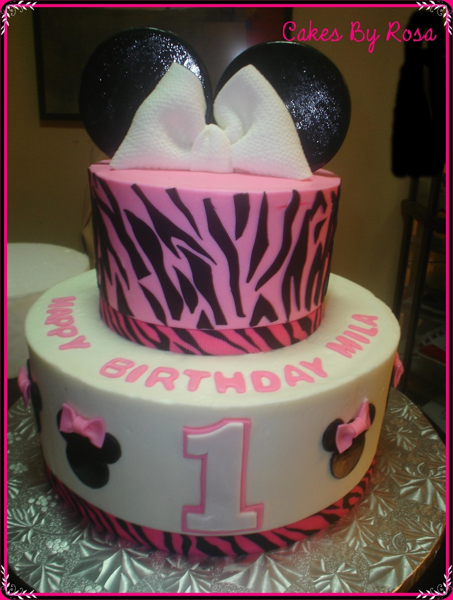 Zebra Stripe Minnie Mouse Cake on Cake Central