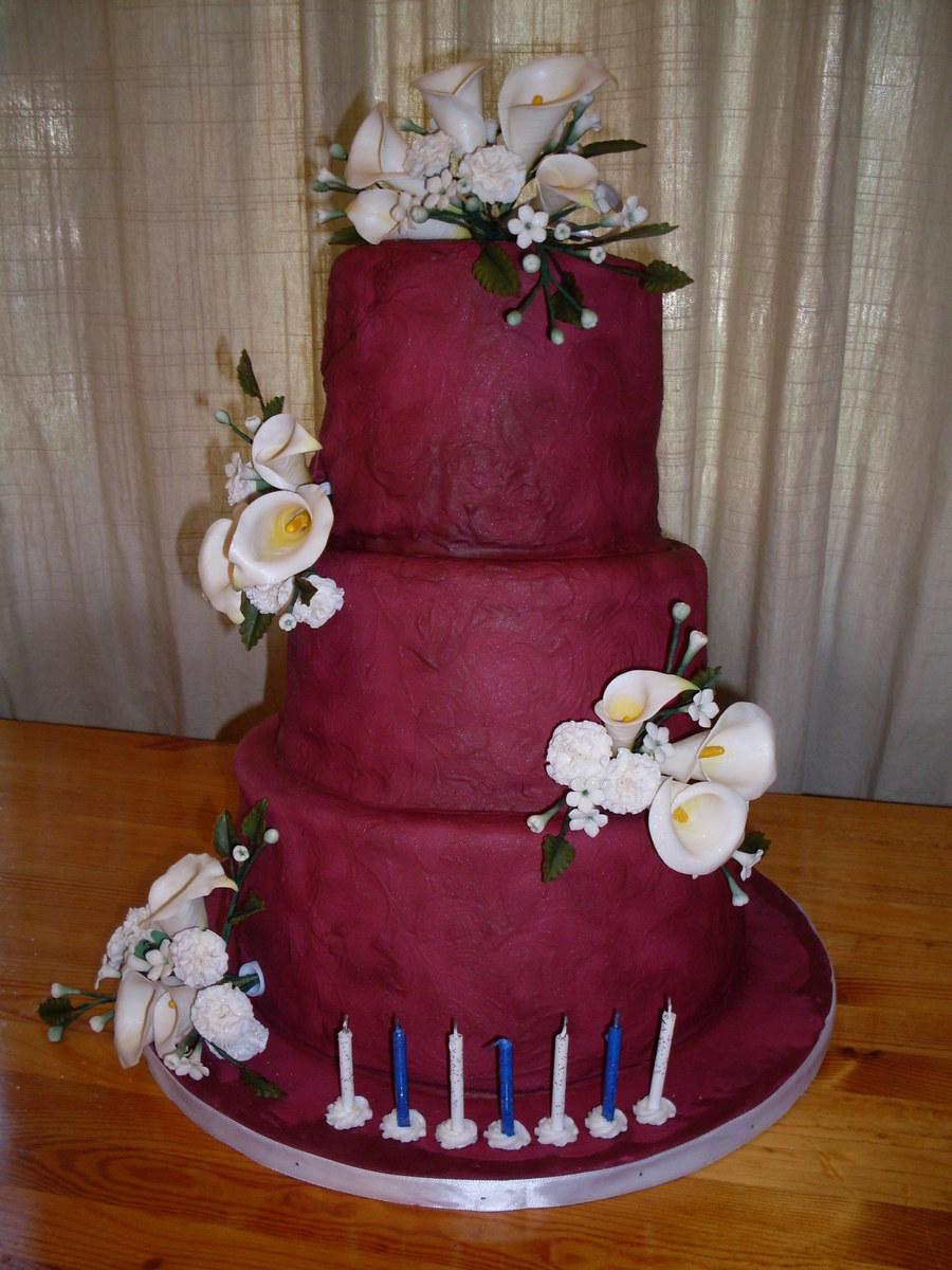 Burgundy Birthday Cake With Sugar Flowers Cakecentral Com