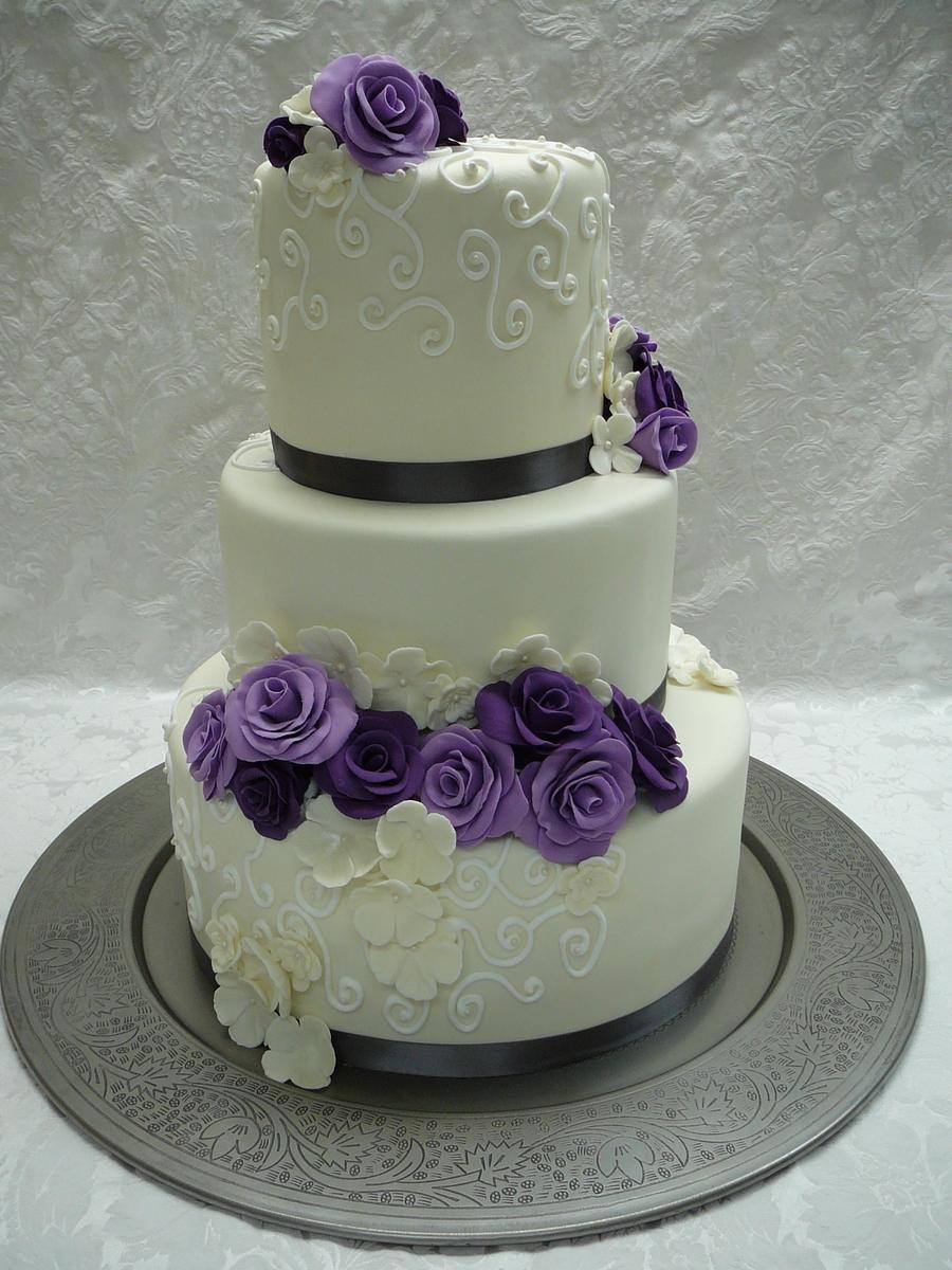 Purple Roses Wedding Cake - CakeCentral.com