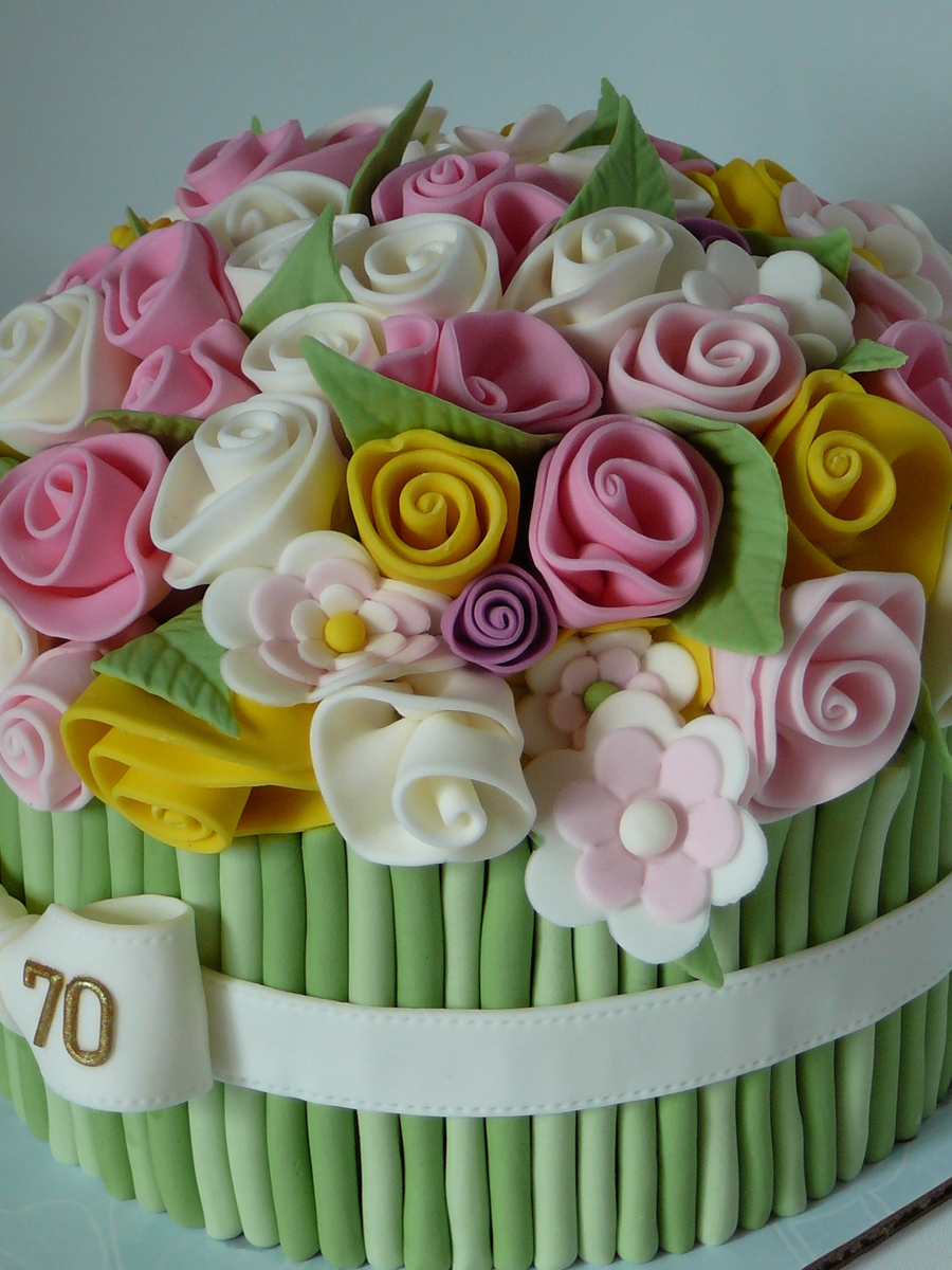 Birthday Cake And Flower Bouquet